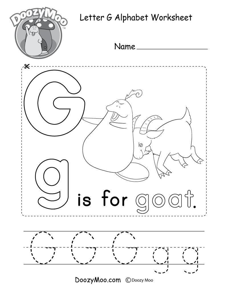 Letter G Alphabet Activity Worksheet - Doozy Moo | Letter G Printable Worksheets