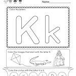 Letter K Coloring Worksheet   Free Kindergarten English Worksheet | Letter K Worksheets Printable