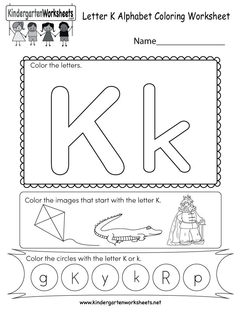 Letter K Coloring Worksheet - Free Kindergarten English Worksheet | Letter K Worksheets Printable