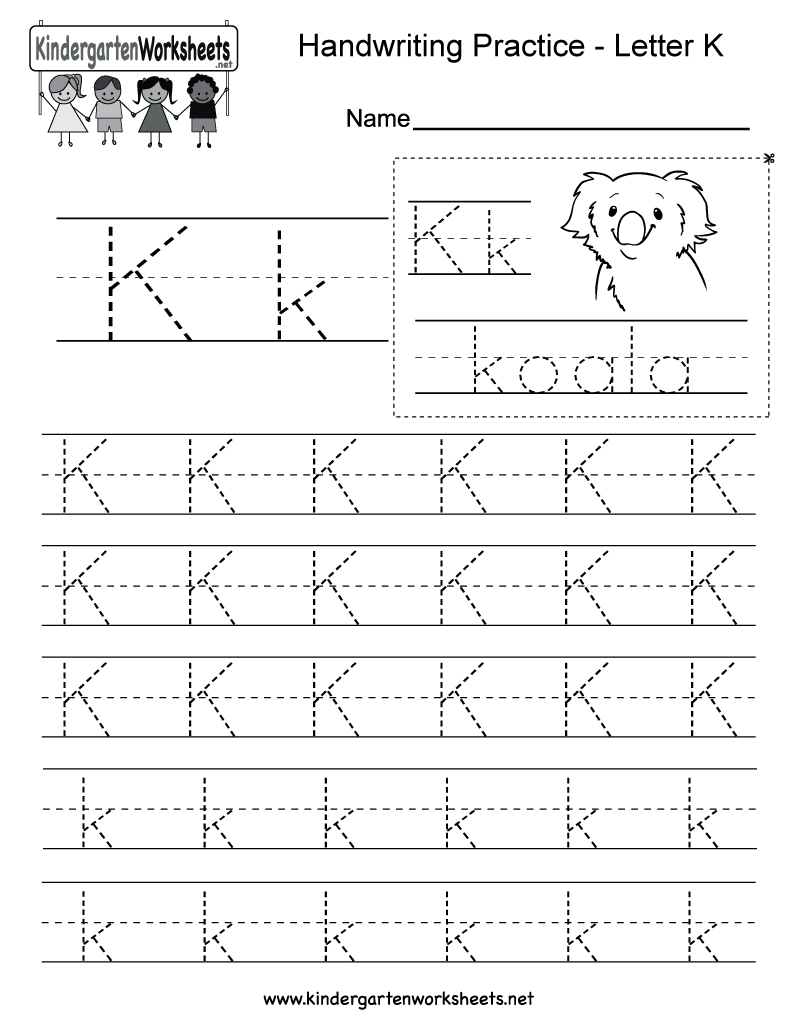Letter K Writing Practice Worksheet - Free Kindergarten English | Letter K Worksheets Printable