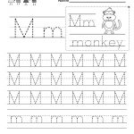 Letter M Writing Practice Worksheet   Free Kindergarten English | Free Printable Letter Practice Worksheets