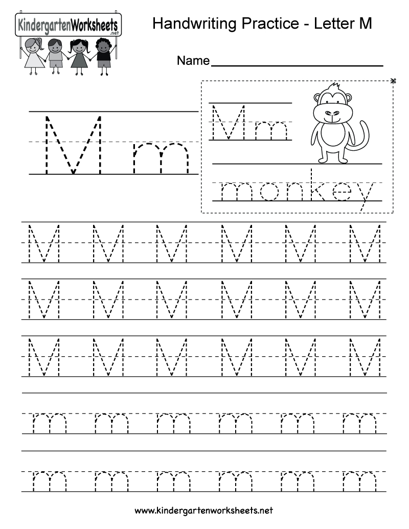 Letter M Writing Practice Worksheet - Free Kindergarten English   Letter M Printable Worksheets