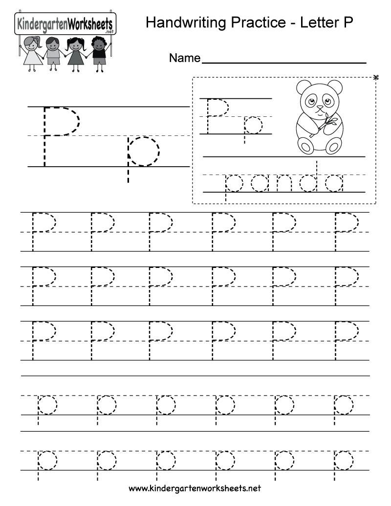 Letter P Writing Practice Worksheet - Free Kindergarten English | Free Printable Letter P Worksheets