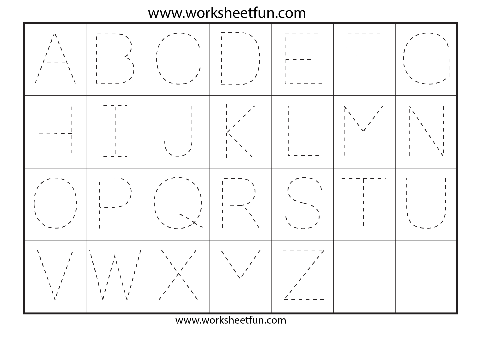 Letter Tracing Worksheets For Kindergarten - Capital Letters | Capital Alphabets Tracing Worksheets Printable
