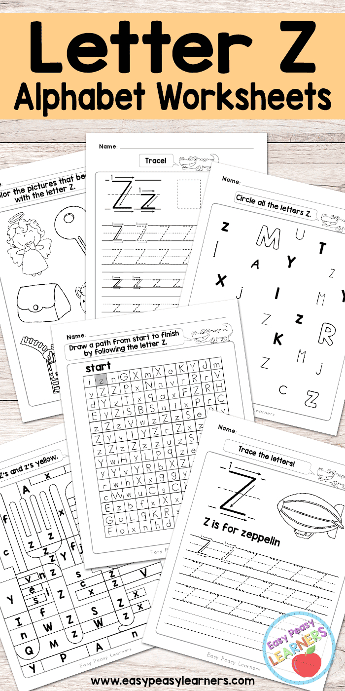 Letter Z Worksheets - Alphabet Series - Easy Peasy Learners | Letter Z Worksheets Free Printable