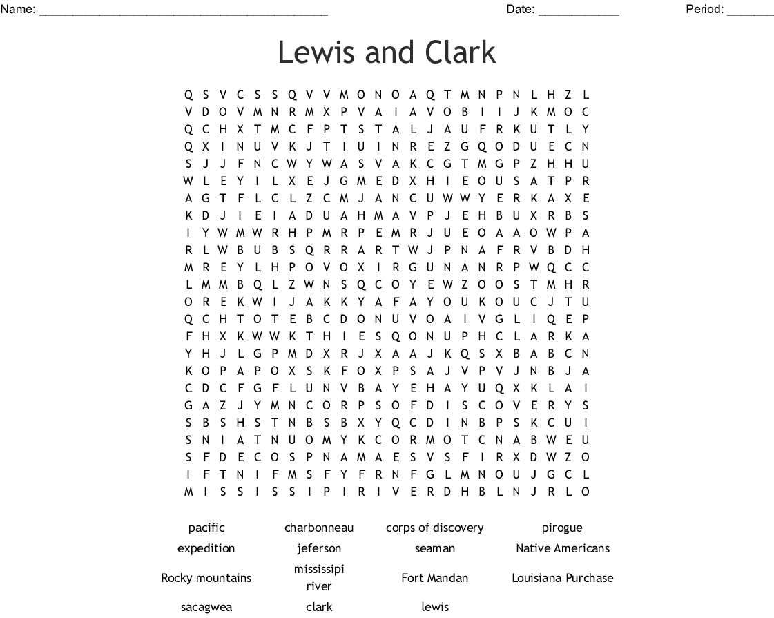 Lewis And Clark Word Search - Wordmint   Lewis And Clark Printable Worksheets