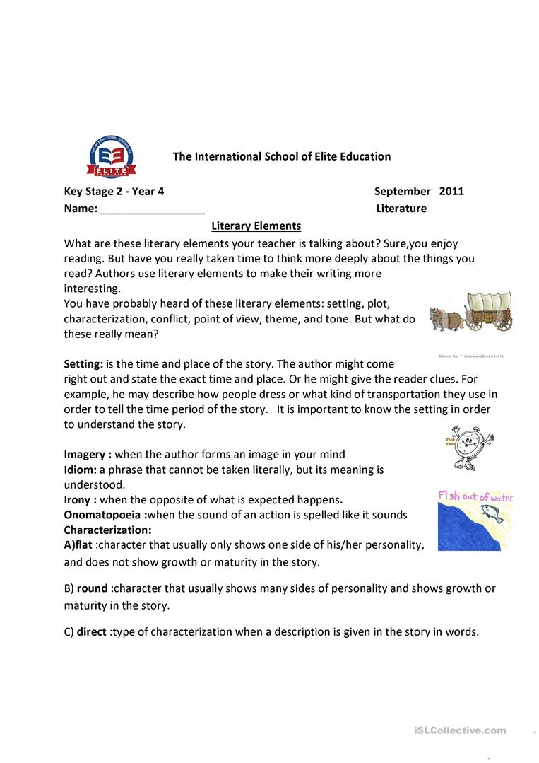 Literary Elements Worksheet - Free Esl Printable Worksheets Made | Free Printable Literary Elements Worksheets