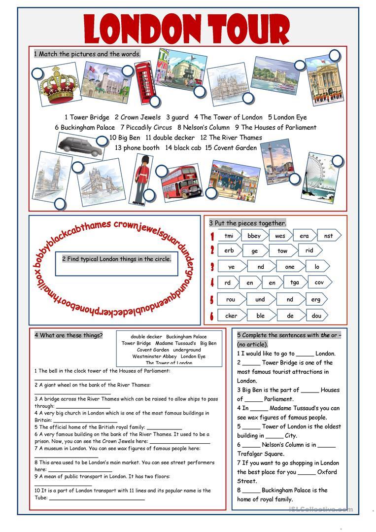 London Tour Vocabulary Exercises Worksheet - Free Esl Printable | London Worksheets Printable