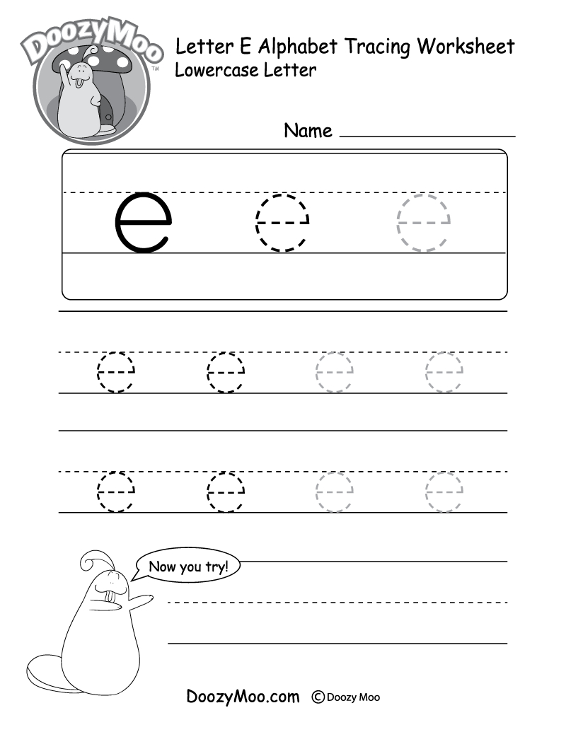 "Lowercase Letter ""e"" Tracing Worksheet - Doozy Moo 