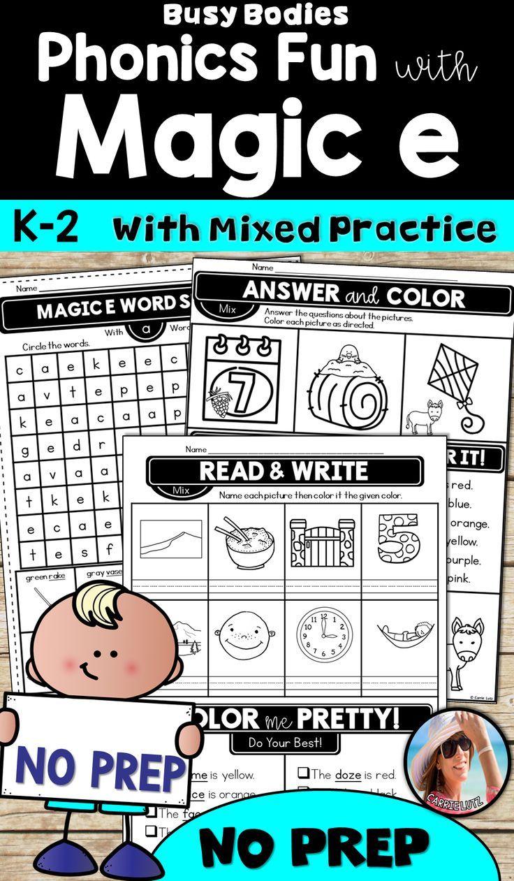 Magic E Worksheets ~ Printable No Prep | Reading And Writing | Pinterest | Silent E Printable Worksheets
