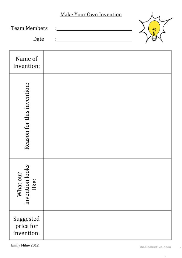 Make Your Own Invention Worksheet - Free Esl Printable Worksheets | Make Your Own Worksheets Free Printable