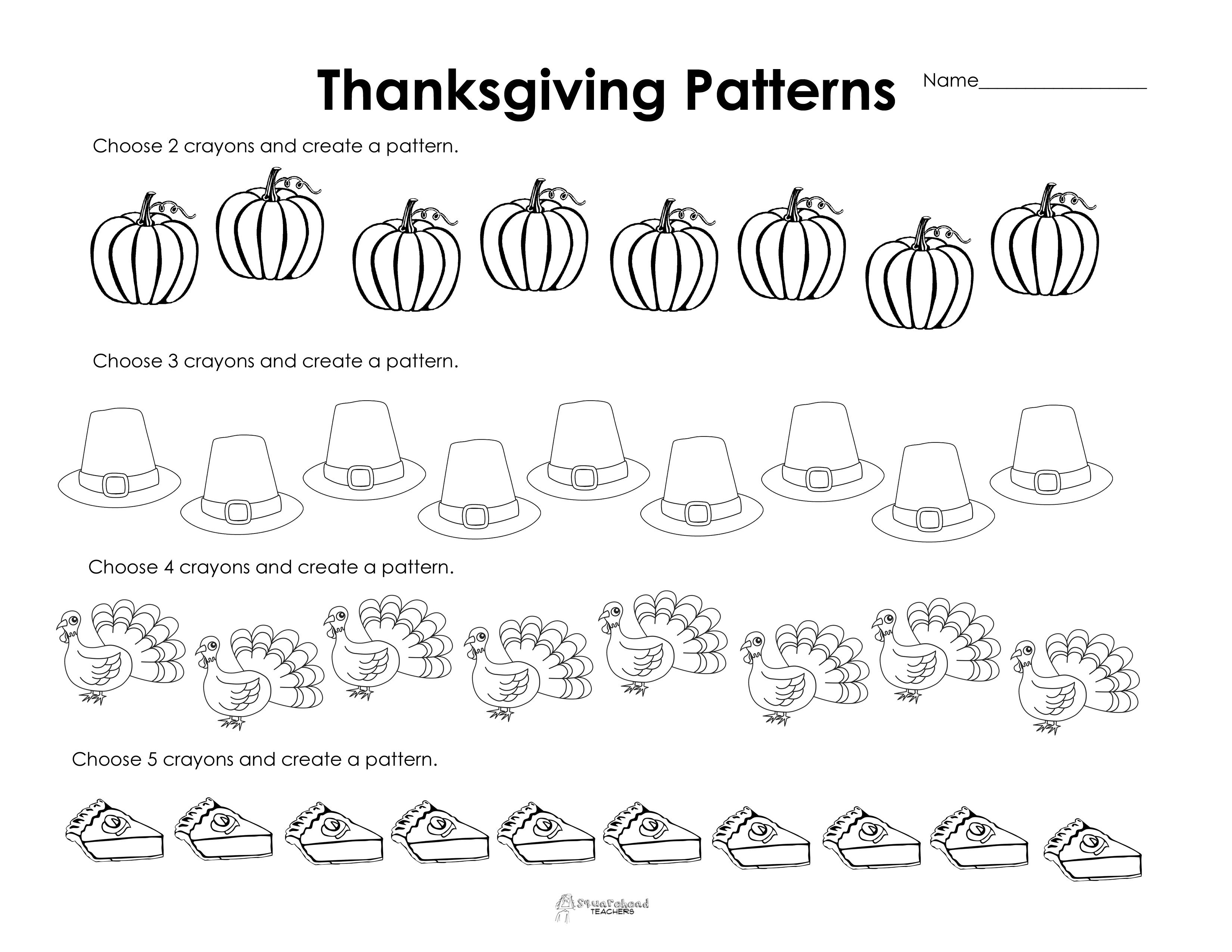 Making Patterns: Thanksgiving Style (Free Worksheet!) | Squarehead | Free Printable Preschool Thanksgiving Worksheets