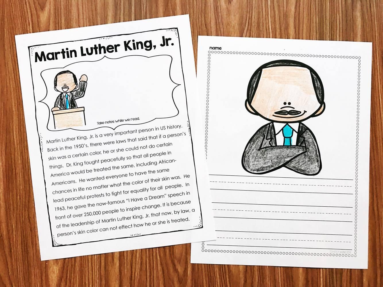 Martin Luther King Kindergarten Printables - Simply Kinder | Free Printable Martin Luther King Jr Worksheets For Kindergarten