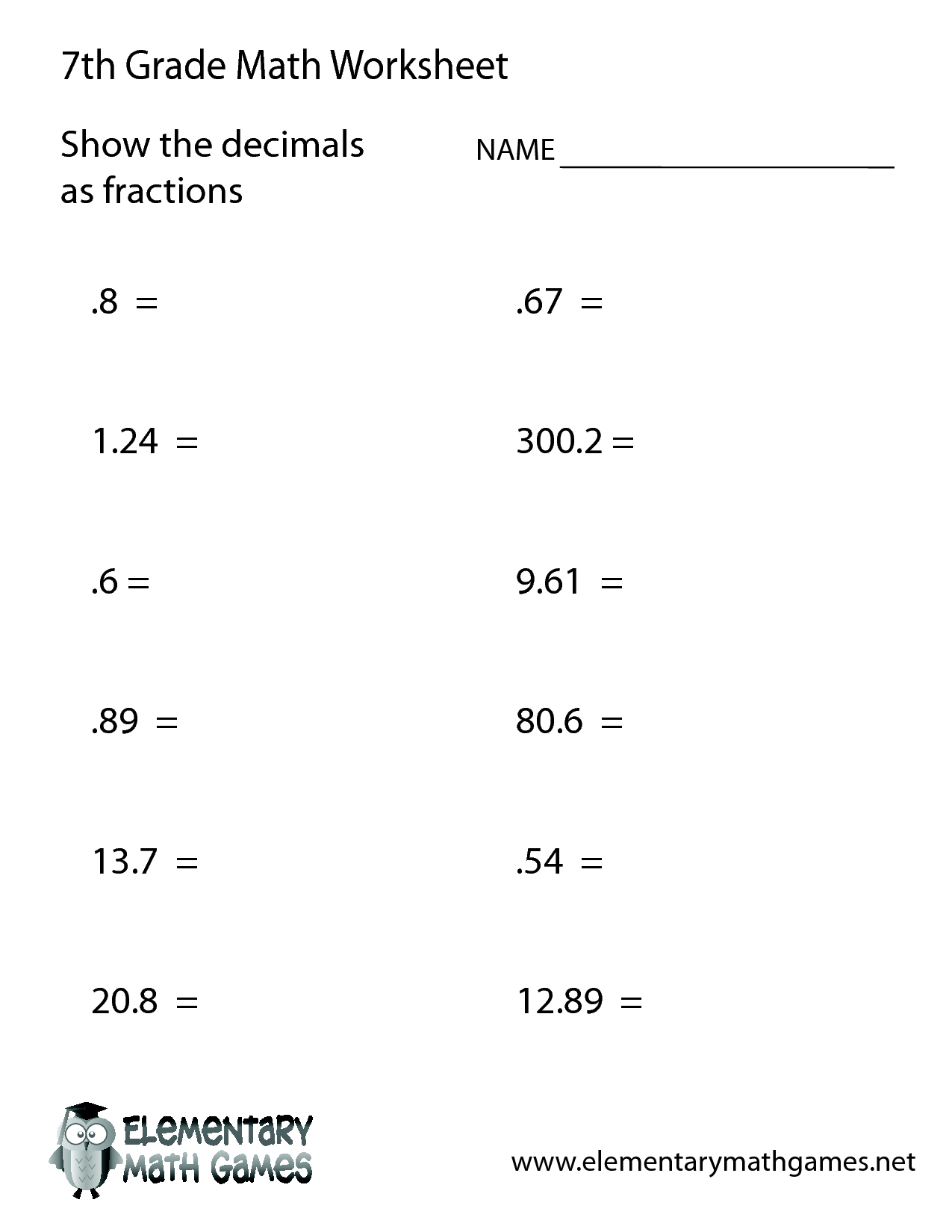 Math Worksheets H Grade Printable With Answer Key Free | Tiktokcook | 7Th Grade Math Worksheets Printable Pdf