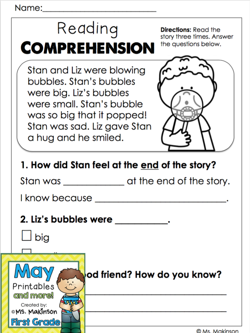 May Printables - First Grade Literacy And Math | Reading | Reading | 1St Grade Reading Comprehension Worksheets Printable
