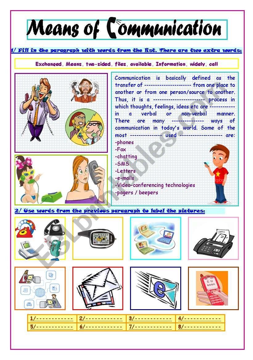 Means Of Communication - Esl Worksheetsassouki | Free Printable Worksheets On Means Of Communication