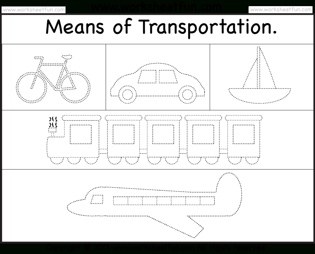 Means Of Transportation – Tracing Worksheet / Free Printable | Kgi | Free Printable Transportation Worksheets For Kids