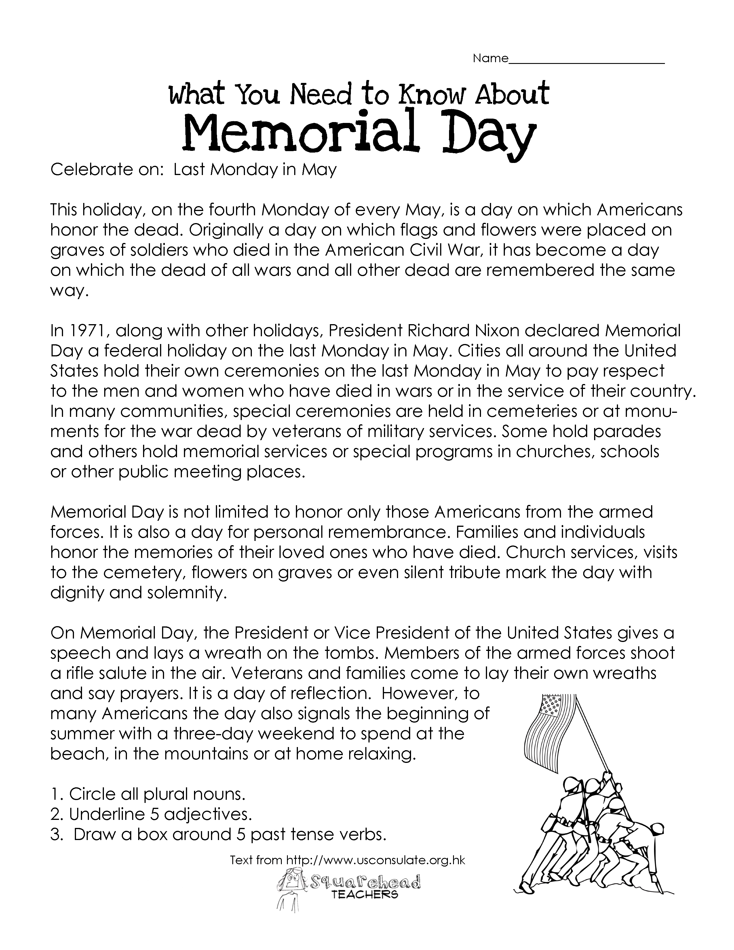 Memorial Day (Free Worksheet) | Squarehead Teachers | Free Printable Labor Day Worksheets
