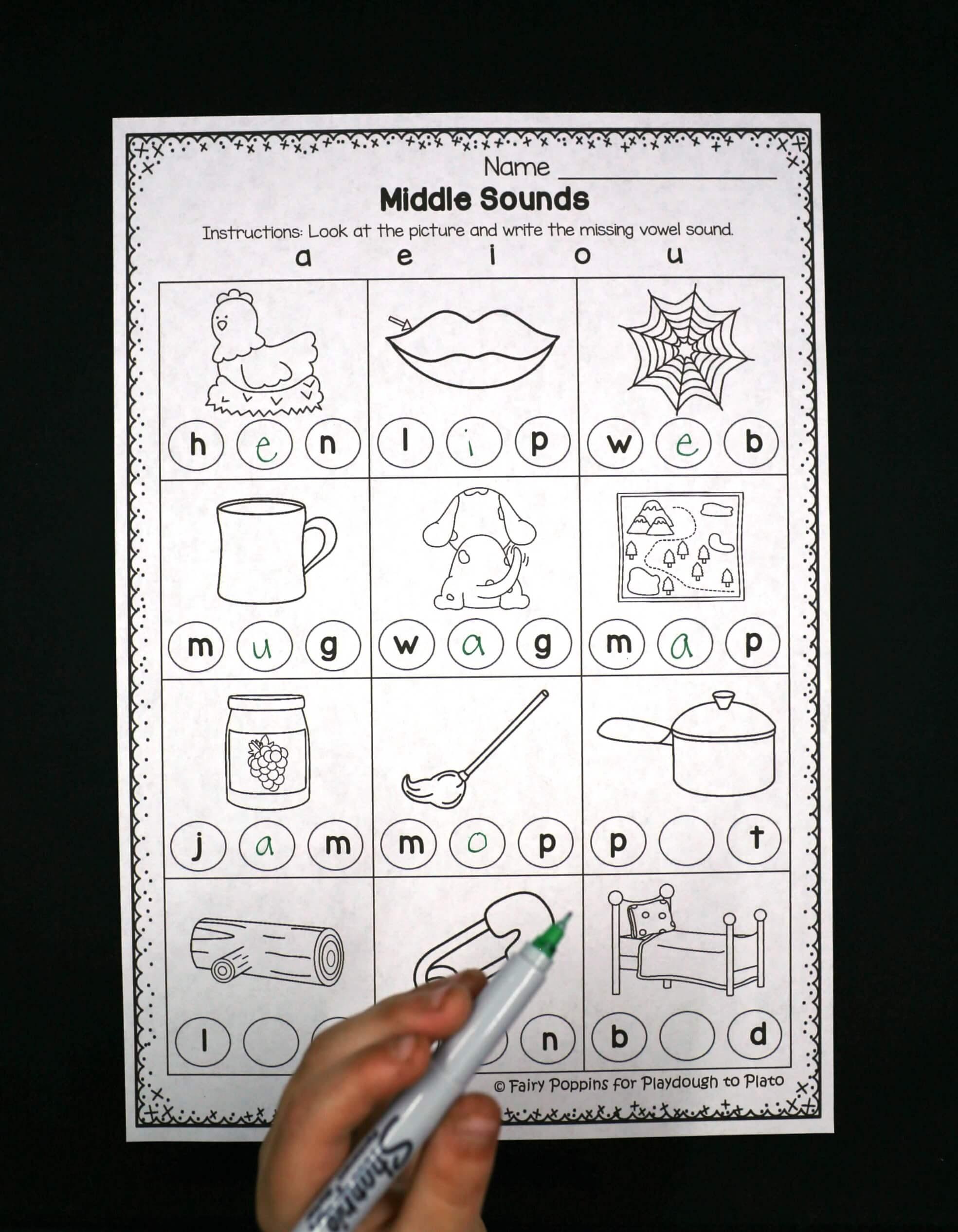 Middle Sounds Worksheets - Playdough To Plato | Free Printable Phoneme Segmentation Worksheets