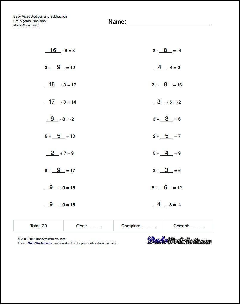 Mixed Addition Worksheet And Subtraction Worksheet Problems   Free Printable Pre Algebra Worksheets