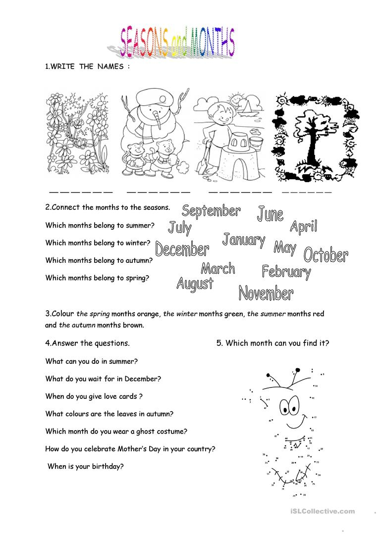 Months And Seasons Worksheet - Free Esl Printable Worksheets Made | Free Printable Seasons Worksheets