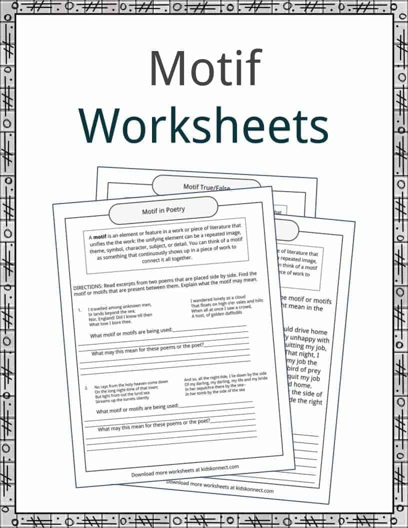 Motif Examples, Definition And Worksheets | Kidskonnect | Printable Literature Worksheets