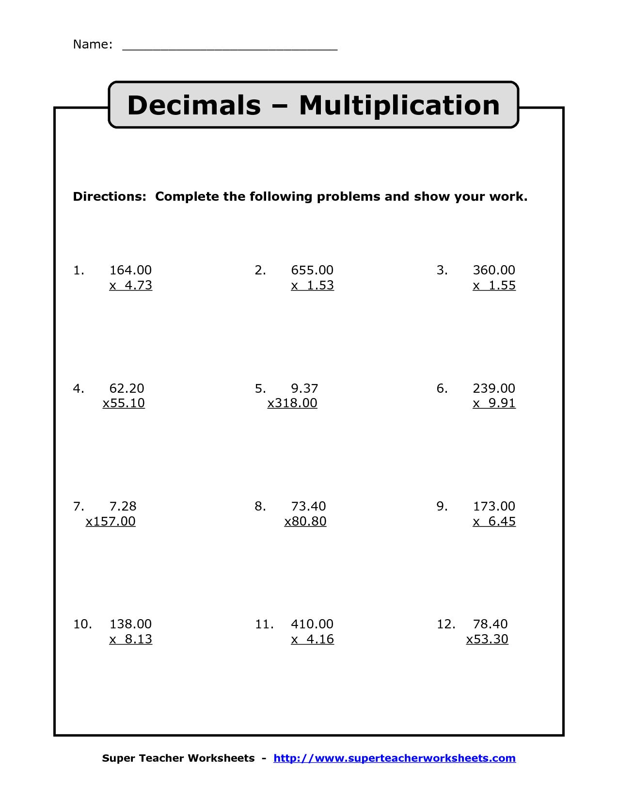 Multiplying Decimals | Multiplication With Decimals Worksheets | Free Printable Decimal Multiplication Worksheets