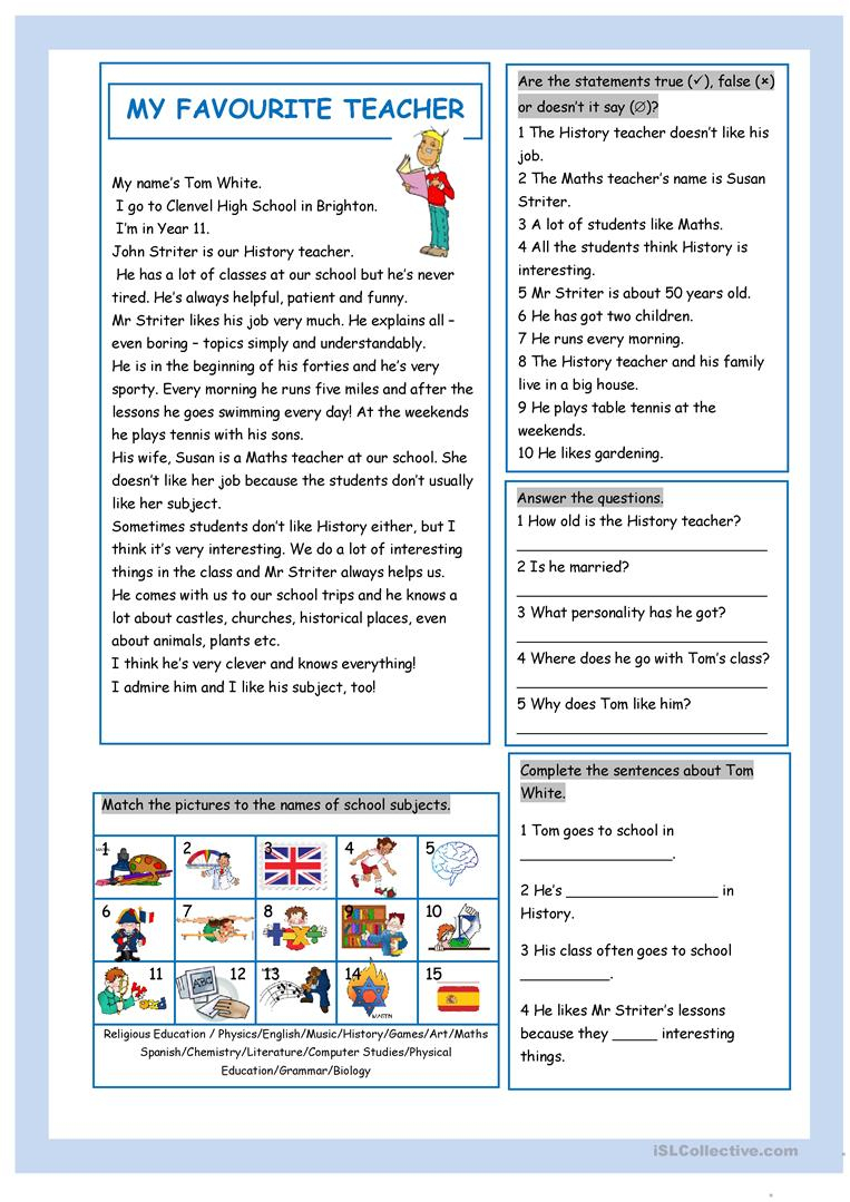 My Favourite Teacher Worksheet - Free Esl Printable Worksheets Made | Teacher Printable Worksheets