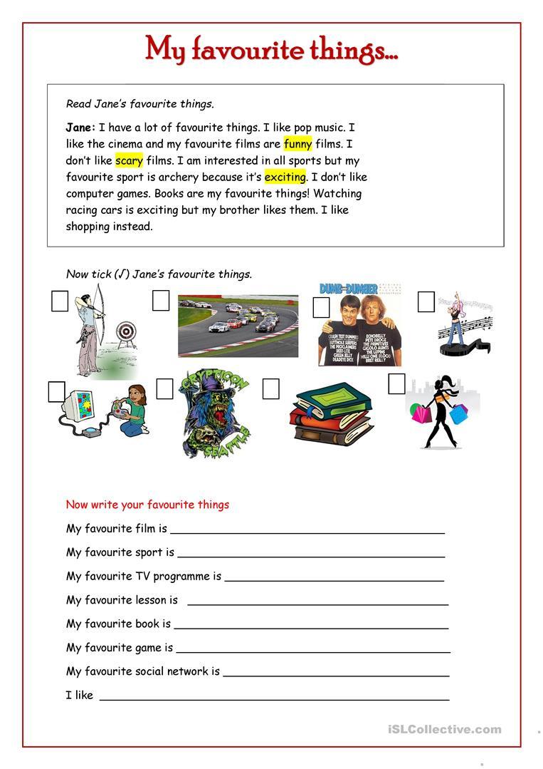 My Favourite Things . Worksheet - Free Esl Printable Worksheets | Archery Printable Worksheets