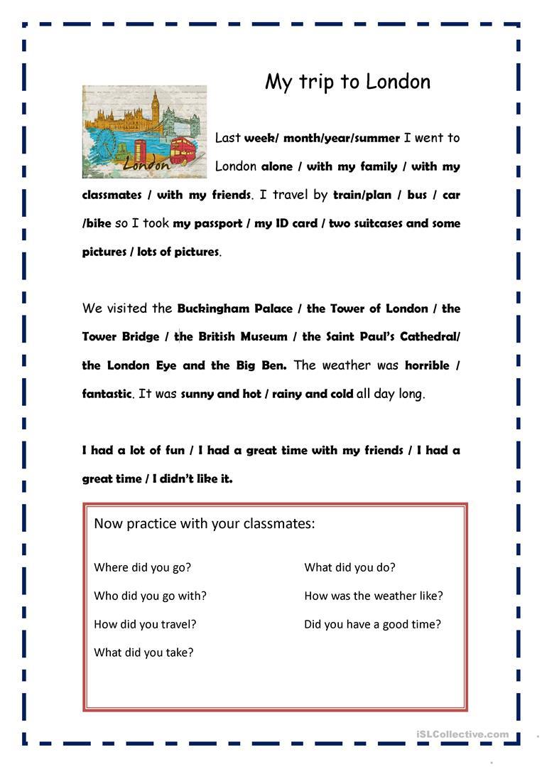 My Trip To London Worksheet - Free Esl Printable Worksheets Made | London Worksheets Printable