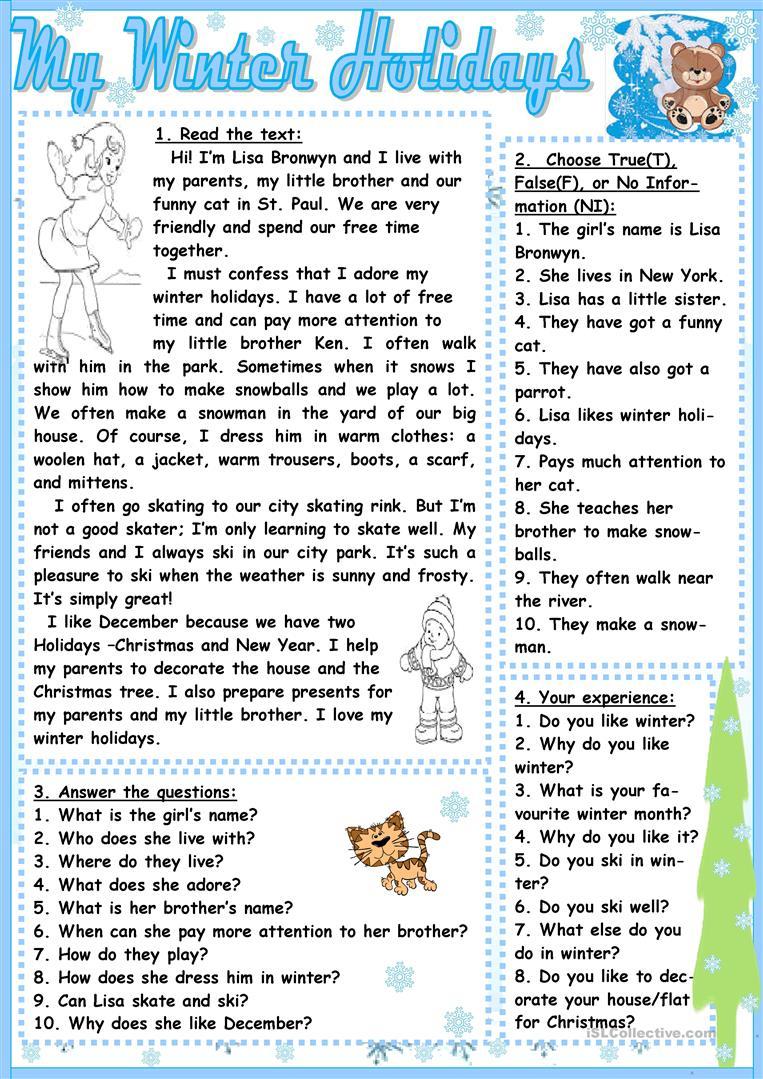 My Winter Holidays Worksheet - Free Esl Printable Worksheets Made | Winter Holidays Worksheets Printables