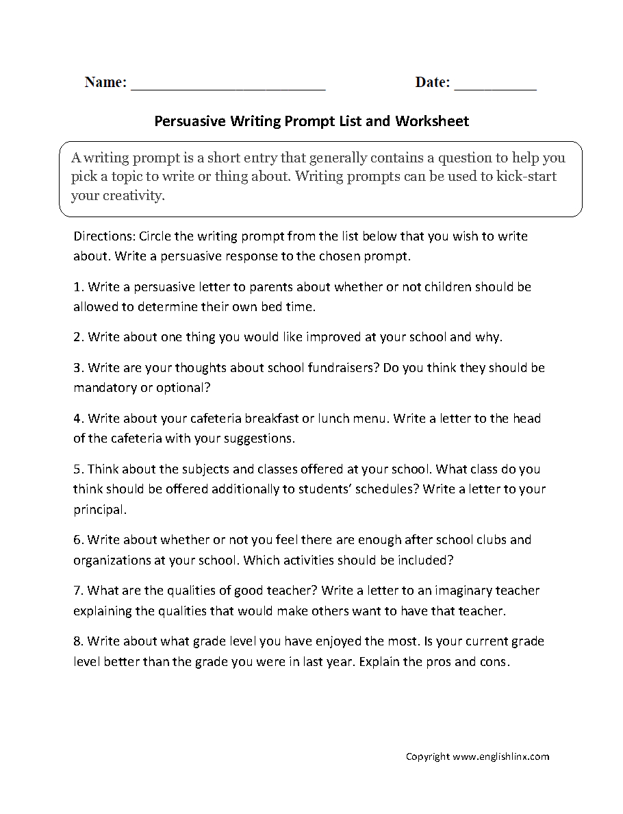 Narrative, Persuasive, Expository/informative, And Warm Up Writing | 7Th Grade Writing Worksheets Printable