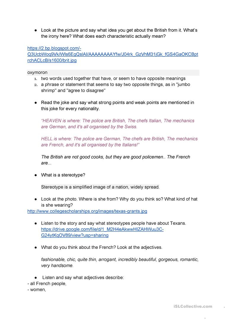 National Stereotypes Worksheet - Free Esl Printable Worksheets Made | Stereotypes Printable Worksheets