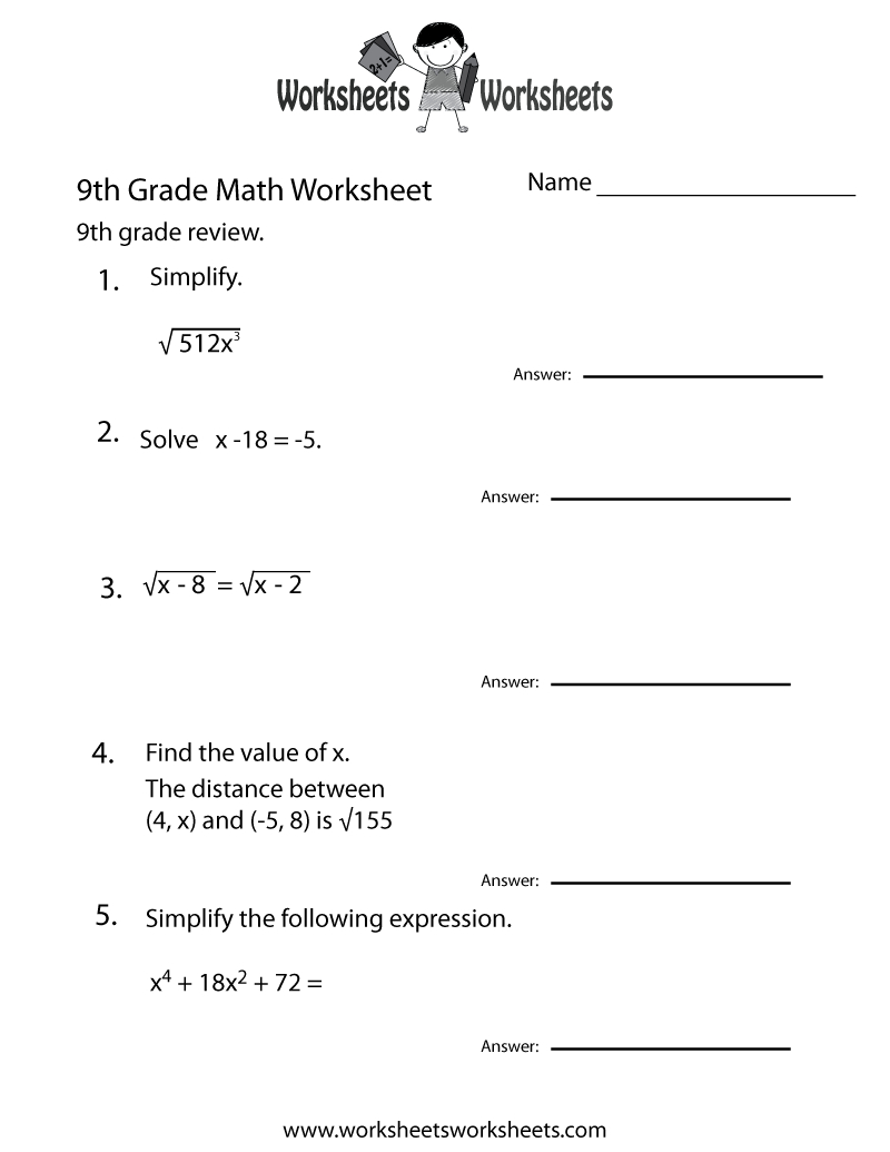 Ninth Grade Math Practice Worksheet Printable | Teaching | Math | Grade 9 Math Worksheets Printable Free With Answers