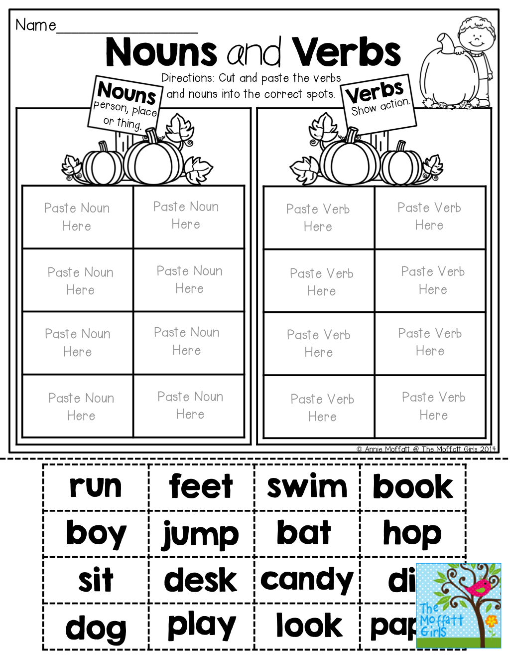 Nouns And Verbs (Sorting) Tons Of Fun Printables! | Write~Nouns | Free Printable Verb Worksheets