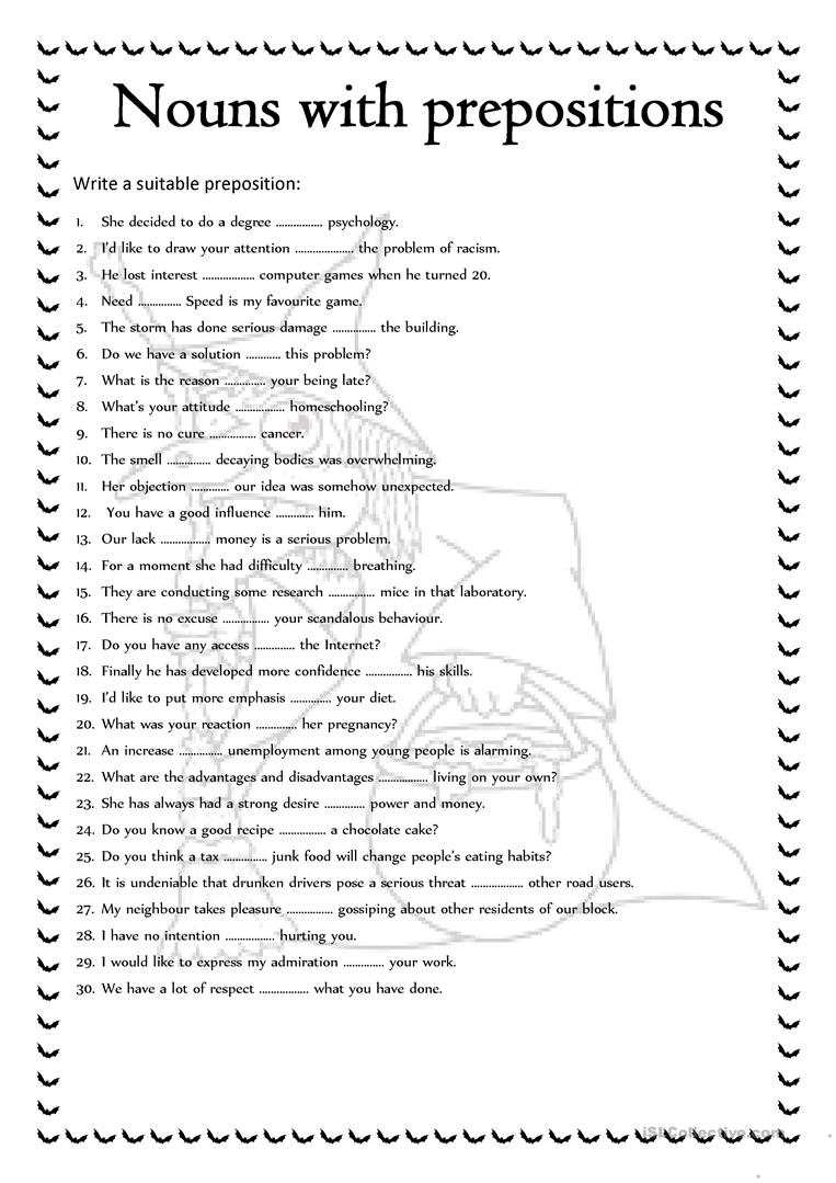 Nouns With Prepositions Worksheet - Free Esl Printable Worksheets   Printable Preposition Worksheets