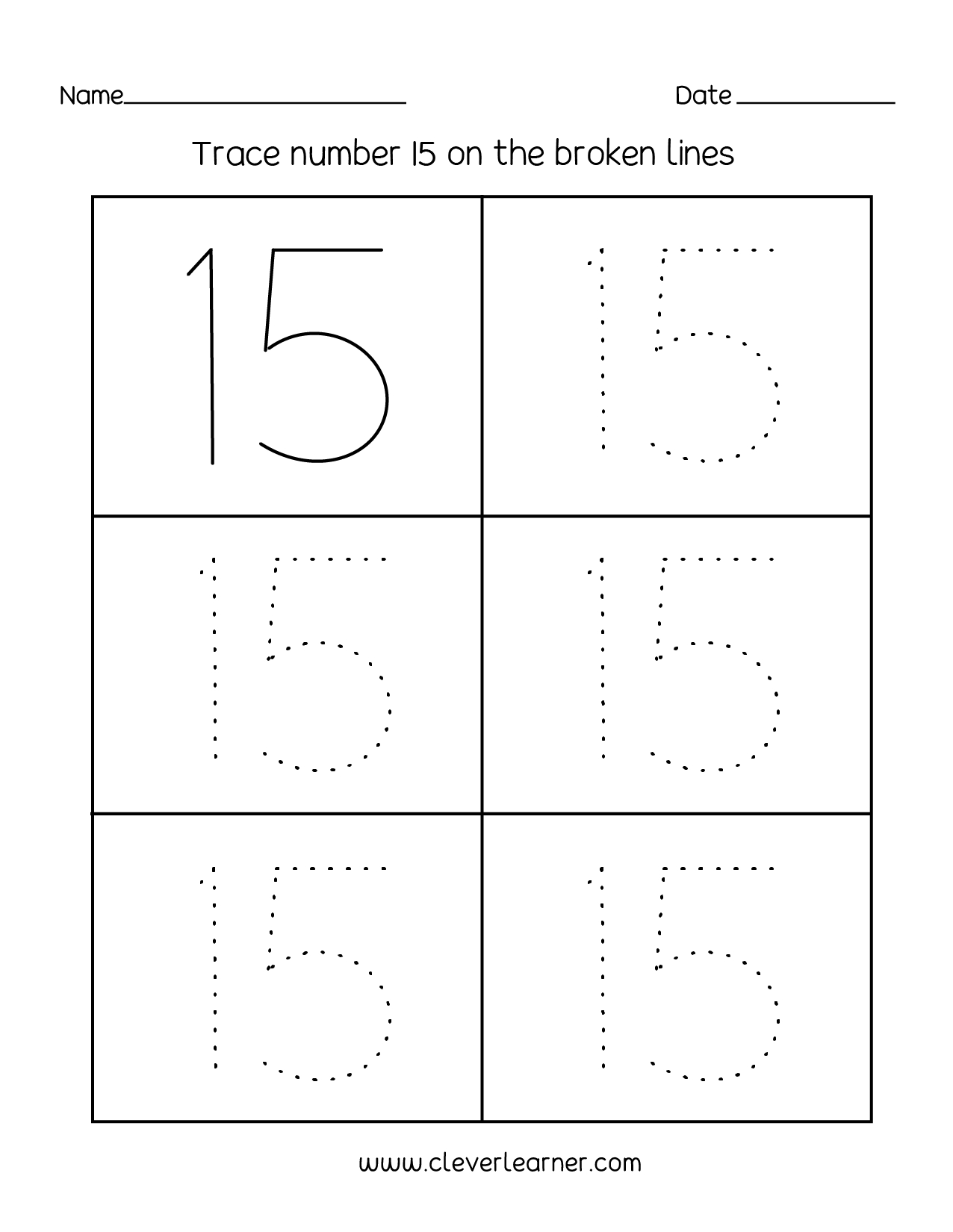 Number 15 Writing, Counting And Identification Printable Worksheets | Printable Number Tracing Worksheets For Kindergarten