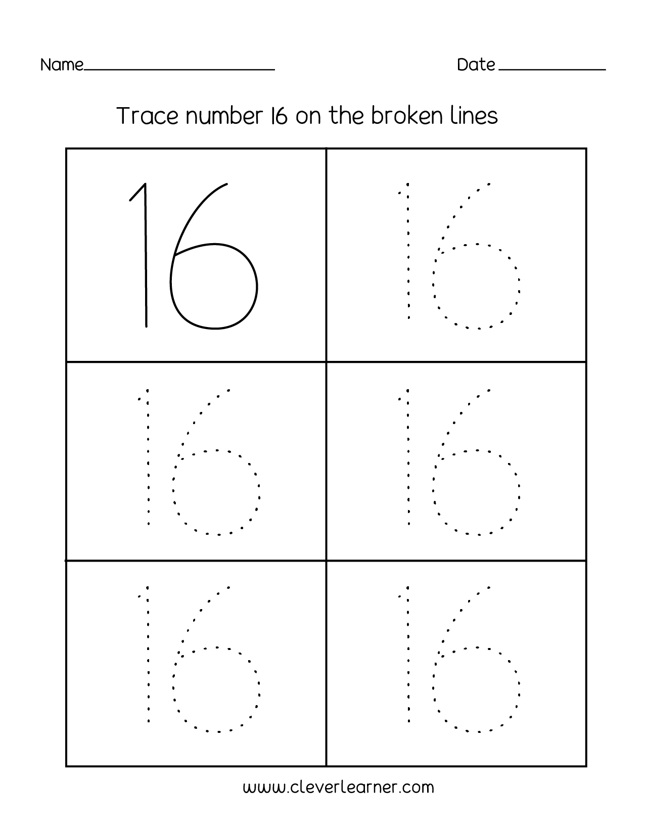 Number 16 Writing, Counting And Identification Printable Worksheets | Printable Worksheets Com