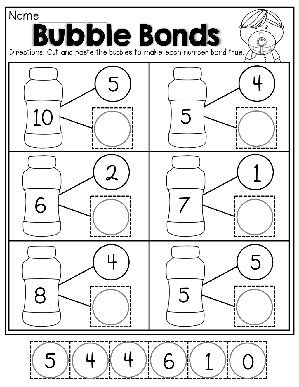 Number Bubble Bonds (Cut And Paste) | Kindergarten Activities | Math | Free Printable Number Bonds Worksheets For Kindergarten