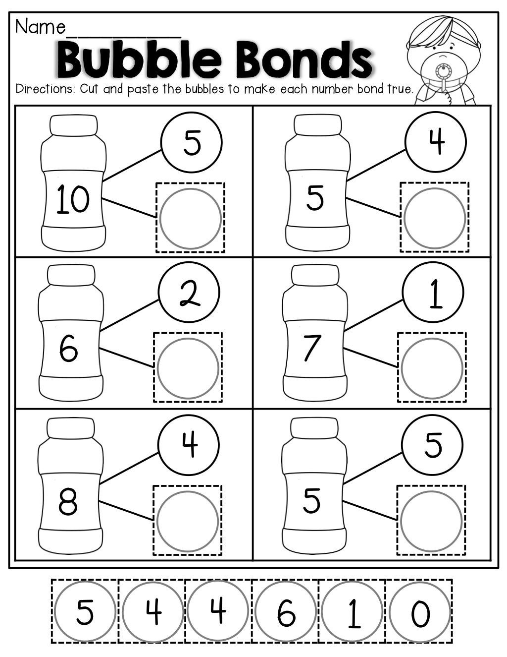 Number Bubble Bonds (Cut And Paste)   Kindergarten Activities   Math   Free Printable Number Bonds Worksheets For Kindergarten