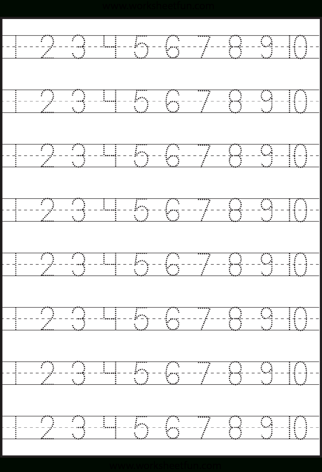 Number Tracing – 1-10 – Worksheet / Free Printable Worksheets | Printable Number Tracing Worksheets
