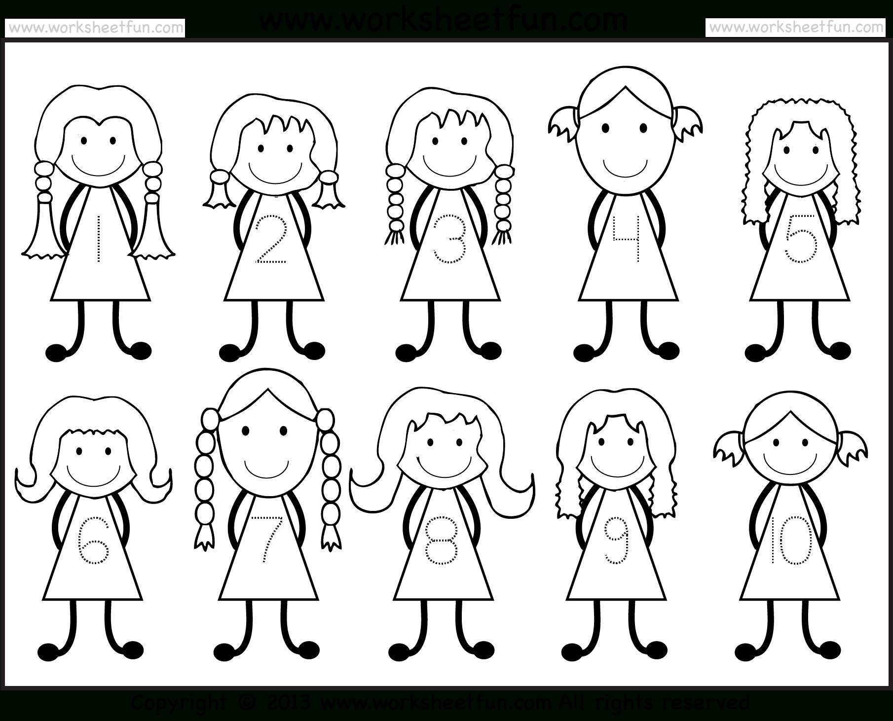 Number Tracing -1-10 – Worksheet / Free Printable Worksheets | Printable Worksheets For Preschoolers On Numbers 1 10