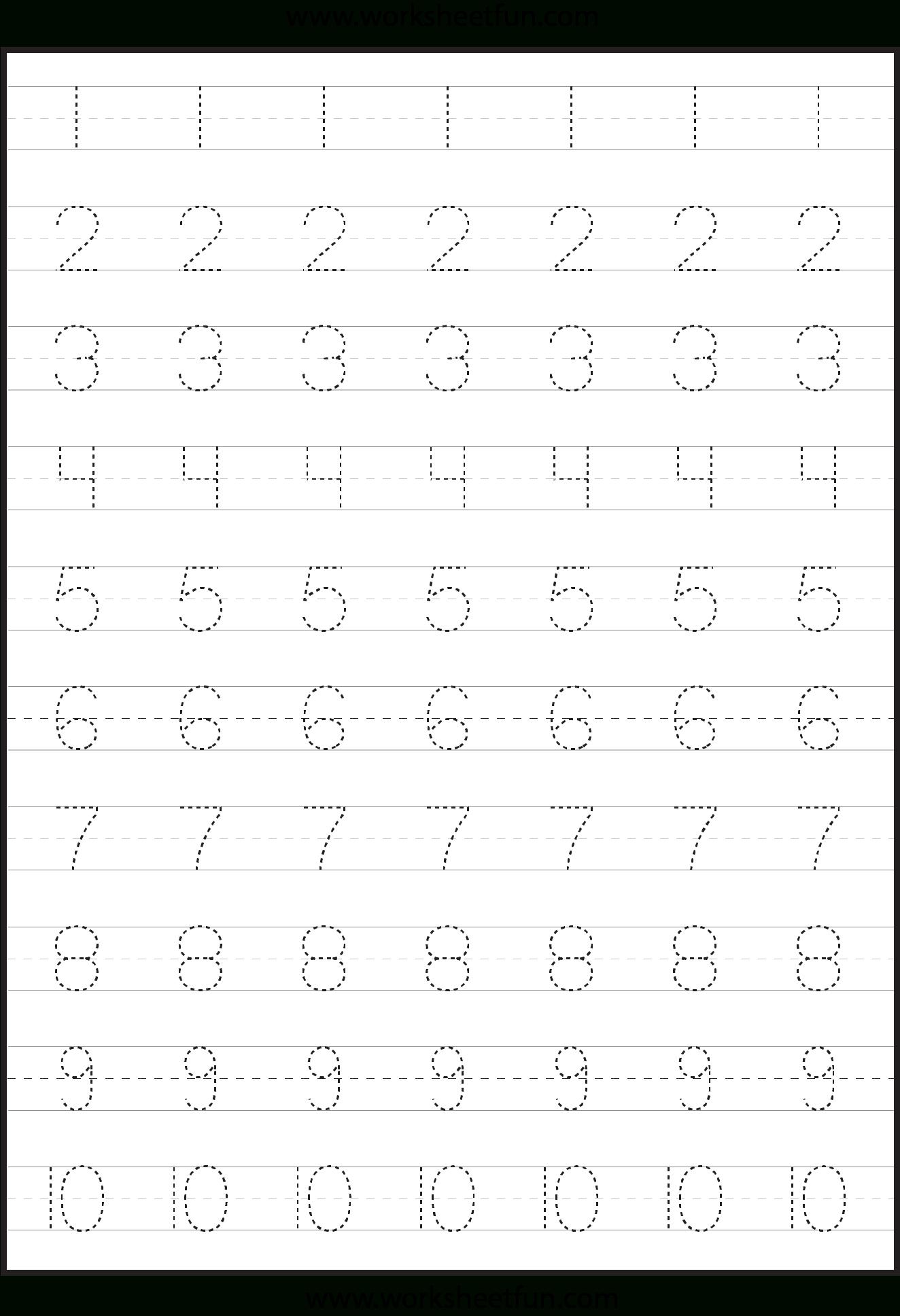 Number Tracing Worksheets For Kindergarten- 1-10 – Ten Worksheets | Printable Worksheets For Preschoolers On Numbers 1 10