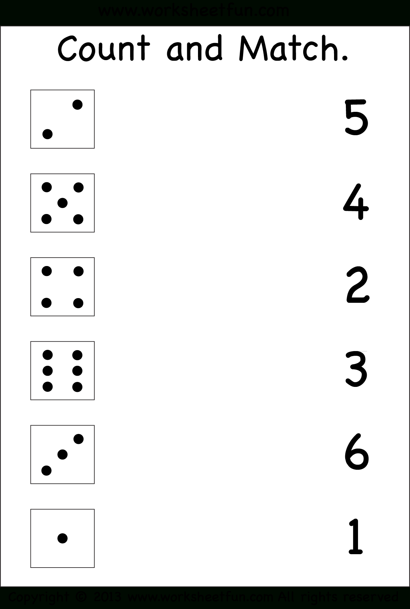 Numbers – Count And Match / Free Printable Worksheets – Worksheetfun | Free Printable Number Worksheets For Kindergarten