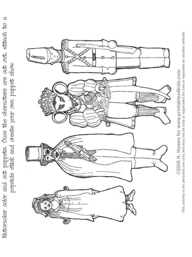 Nutcracker Print And Color Puppets : Printables For Kids – Free Word | Nutcracker Worksheets Printable