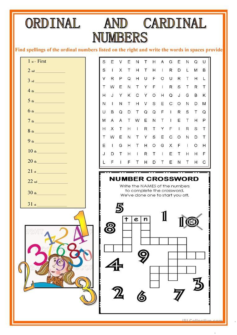 Ordinal And Cardinal Numbers Worksheet - Free Esl Printable | Qu Worksheets Printable