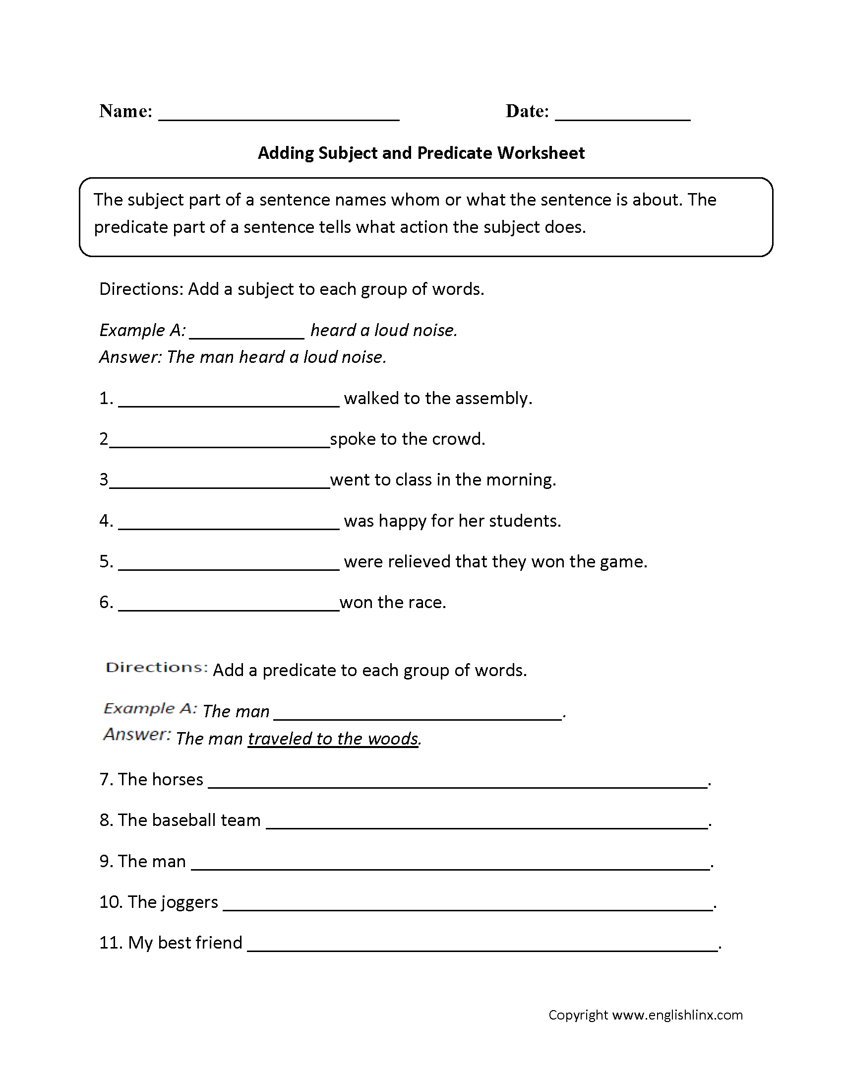Parts Of A Sentence Worksheets | Subject And Predicate Worksheets | Grade 7 English Worksheets Printable