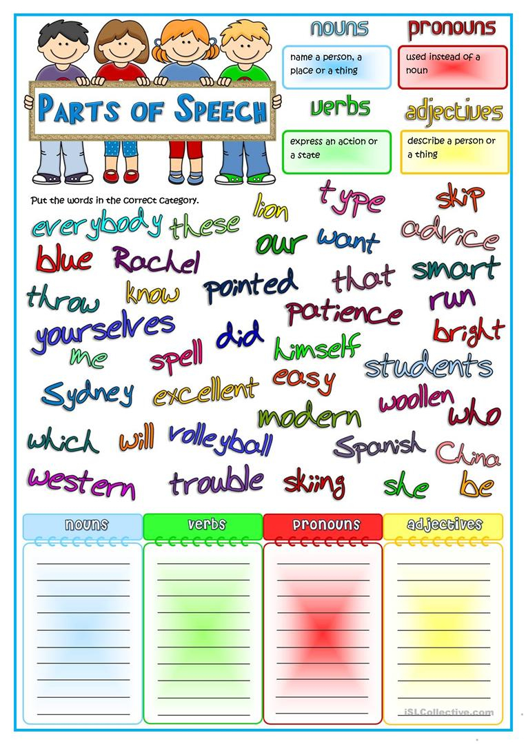 Parts Of Speech - Nouns, Pronouns, Verbs, Adjectives Worksheet | Free Printable Parts Of Speech Worksheets