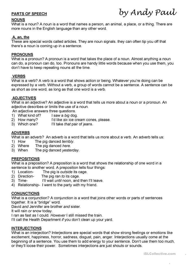 Parts Of Speech Worksheet - Free Esl Printable Worksheets Made | Free Printable Parts Of Speech Worksheets