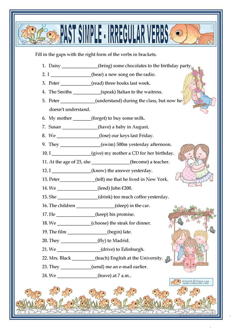 Past Simple - Irregular Verbs Worksheet - Free Esl Printable | Free Printable Irregular Verb Worksheets